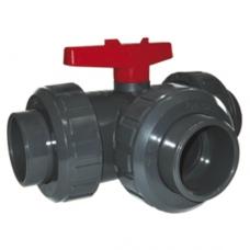 Кран шаровый, 3-х ходовой, общего применения, T-порт, уплотнение EPDM