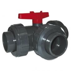 Кран шаровый, 3-х ходовой, общего применения, L-порт, уплотнение EPDM